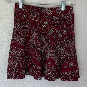 Aeropostale skirt size sm/p burgundy w/design